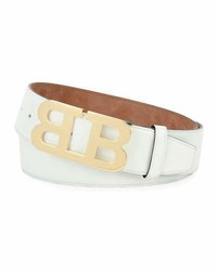 Bally Mirror B Patent Leather Belt White