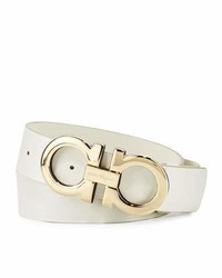 Salvatore Ferragamo Tonal Double Gancini Buckle Belt White