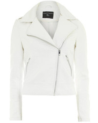 Dorothy Perkins Ivory Faux Leather Biker Jacket