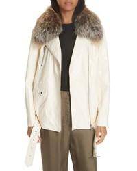 Cinq à Sept Emilia Genuine Fox Fur Collar Leather Jacket