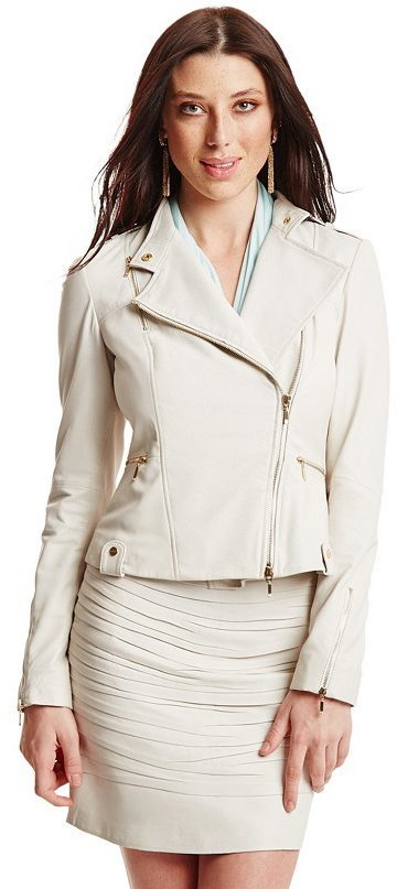 0d7fc6b7 ... White Leather Biker Jackets GUESS by Marciano Mourielle Leather Moto  Jacket ...
