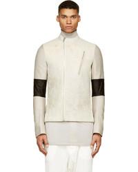 Pearl grey cream crackled leather jacket medium 121347