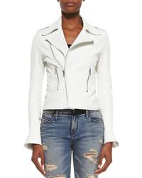 Rta denim asymmetric zip croc print biker jacket medium 151470