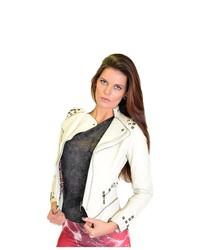 Soho Girl Leather Zip Soho Motto Jacket White