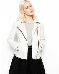 Asos Textured Biker Jacket White
