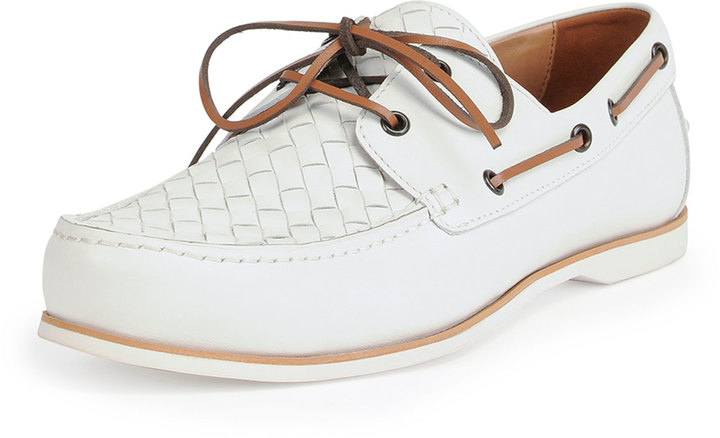 white leather boat shoes bottega veneta woven leather