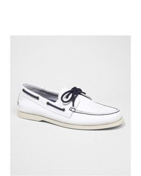 Express Leather Boat Shoe White 7