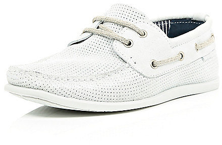 River Island White Perforated Suede Boat Shoes   Where to buy ...