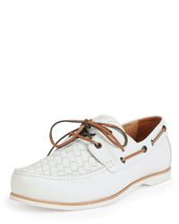 Bottega Veneta Woven Leather Boat Shoe White