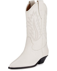 Isabel Marant Dallin Leather Western Boot White