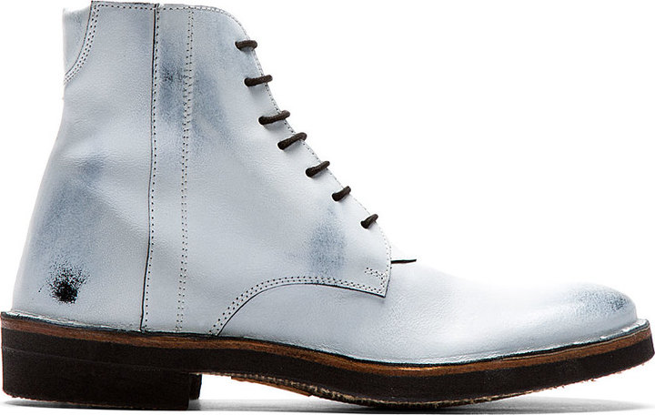 Maison Martin Margiela Off White Overpaint Leather Boots | Where ...