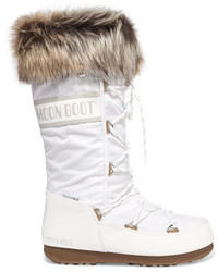 Moon Boot Monaco Faux Fur Trimmed Shell Piqu And Faux Leather Snow Boots White