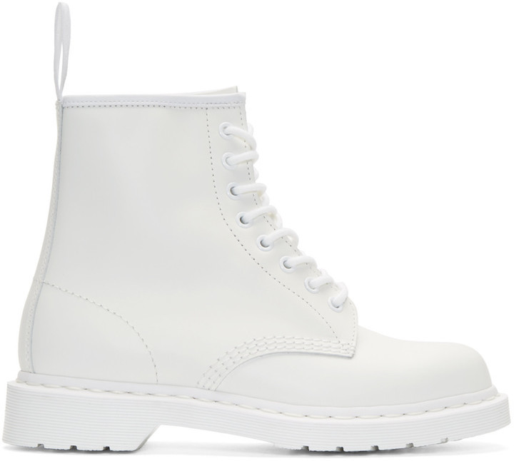 Dr. Martens White 8 Eye 1460 Mono Boots | Where to buy & how to wear