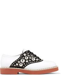 Miu Miu Studded Two Tone Leather Brogues White