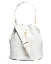 Elizabeth and James Cynnie Sling Croc Effect Leather Bucket Bag