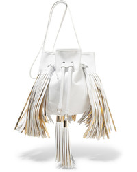Sara Battaglia Jasmine Fringed Leather Bucket Bag