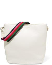 Sara Battaglia Lucy Textured Leather Bucket Bag White