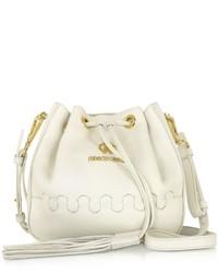 Roberto Cavalli Regina Off White Grained Leather Bucket Bag