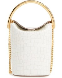 Small ring faux leather bucket bag ivory medium 827340