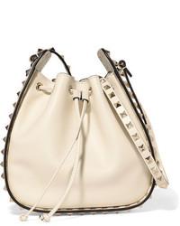 Valentino The Rockstud Leather Bucket Bag Ivory