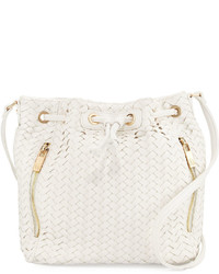Neiman Marcus Woven Faux Leather Bucket Bag White