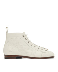 Gucci White Brogue Boots