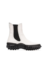 Marni Black And White Scuba And Leather Ankle Boots