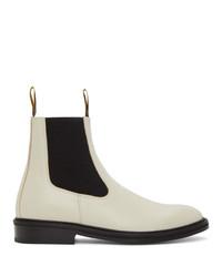 Lanvin White Plain Flat Chelsea Boots