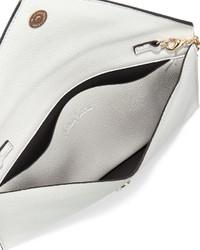 7ea51acfcefd ... Neiman Marcus Faux Leather Envelope Clutch Bag Whitegray