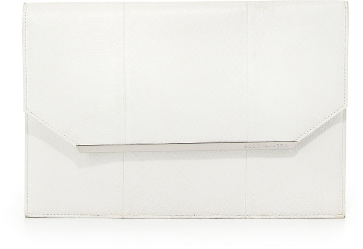 Kelly Snake Embossed Envelope Clutch Bag White