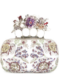 Alexander McQueen Knuckle Embroidered Box Clutch