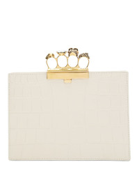 Alexander McQueen Off White Croc Small Four Ring Clutch