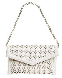 Perforated faux leather clutch white medium 1125420