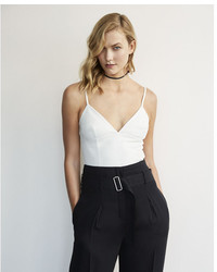 Express Karlie Kloss Leather Cropped Bralette Tank