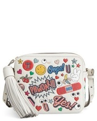 Anya Hindmarch Allover Sticker Leather Crossbody Bag White