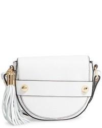Milly Astor Leather Crossbody Saddle Bag Grey