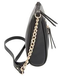 Junior Zip Front Faux Leather Crossbody Bag Black