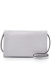 Charles Jourdan Peyton Alligator Embossed Crossbody Bag White