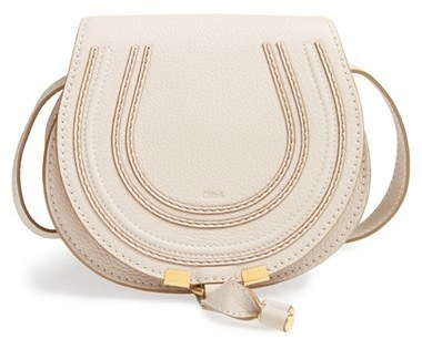 Chloé Chloe Mini Marcie Leather Crossbody Bag White