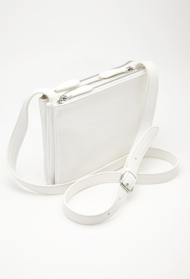 Detachable Crossbody Bag White Leather By Forever 21