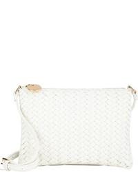 Deux Lux Chevron Woven Small Crossbody Bag White