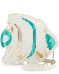 Betsey Johnson Fish Shaped Crossbody Bag White