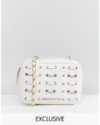 Versace Jeans White Woven Studded Cross Body Bag