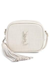 Saint Laurent Monogram Blogger Leather Crossbody Bag White