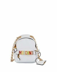 Moschino Mini Leather Backpack Shaped Crossbody Bag Whitemulti