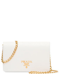 Prada Saffiano Lux Crossbody Bag White