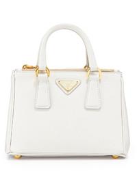 Prada Saffiano Mini Galleria Crossbody Bag White