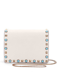 Valentino Rolling Rockstud Small Flap Chain Crossbody Ivory