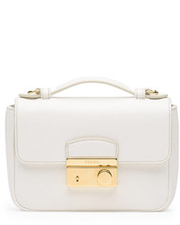 Prada Saffiano Mini Crossbody Clutch White