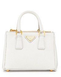 Prada Saffiano Mini Galleria Crossbody Bag White